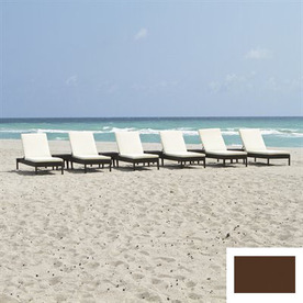 Source Outdoor Set of 6 Manhattan Aluminum Patio Chaise Lounges with Brown Cushions
