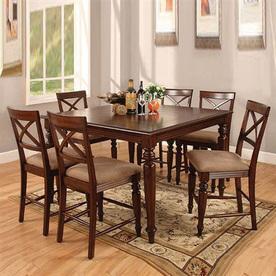 Shop Furniture Of America Myrtle Beach Dark Oak Dining Set At