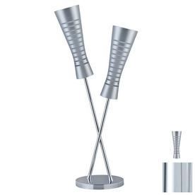 Paulmann 33-7/8-in Chrome Table Lamp with Glass Shade