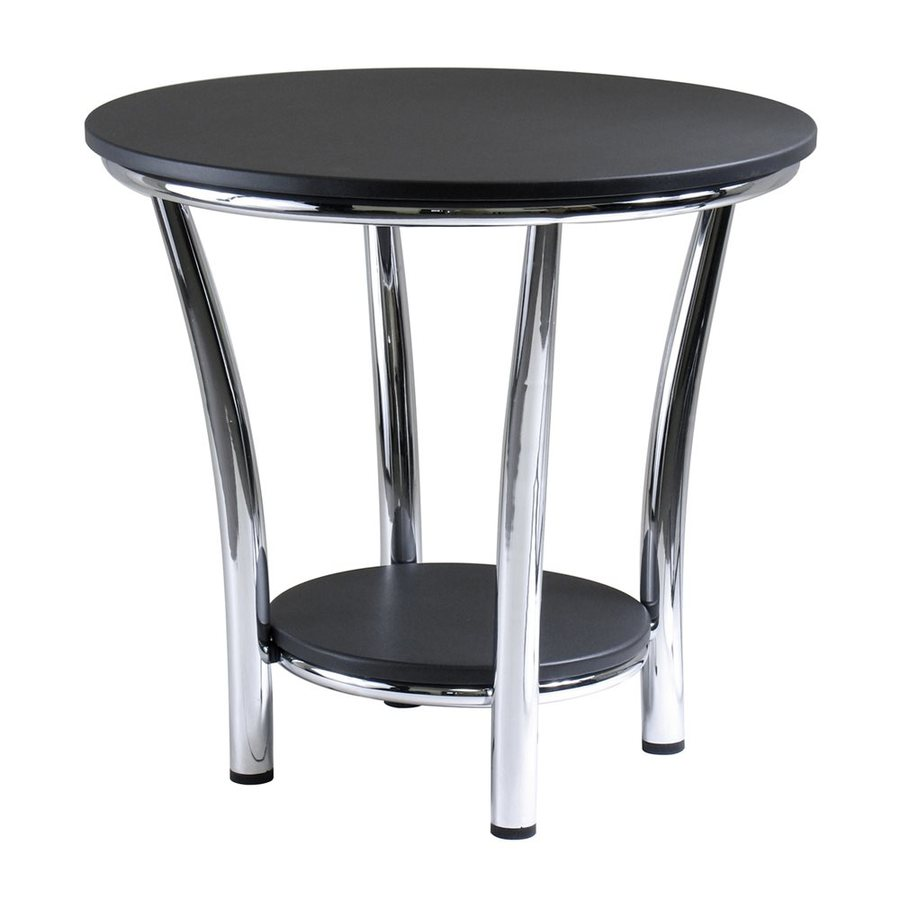 Shop winsome wood maya black metal round end table at for Black wood end tables