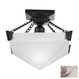 DVI 12-in W Satin Nickel Art Glass Semi-Flush Mount Ceiling Light
