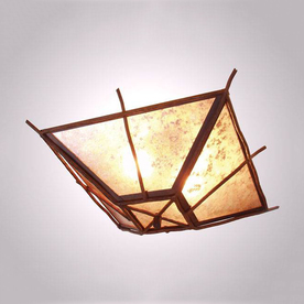 Steel Partners Bundle Of Sticks 17-in W Rust Semi-Flush Mount Light with Frosted Glass