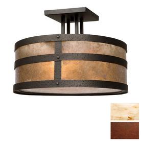 Steel Partners 18-in Rust  Semi-Flush Mount Light