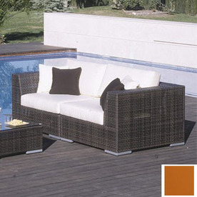 Hospitality Rattan Soho Java Brown Aluminum Cushioned Patio Loveseat