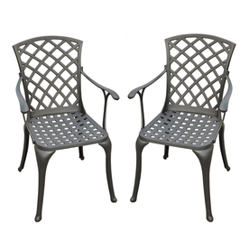 Crosley Furniture Sedona 2-Count Charcoal Black Aluminum Patio Dining Chairs