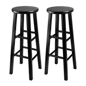 Winsome Wood Set of 2 Black 29.1-in Bar Stools