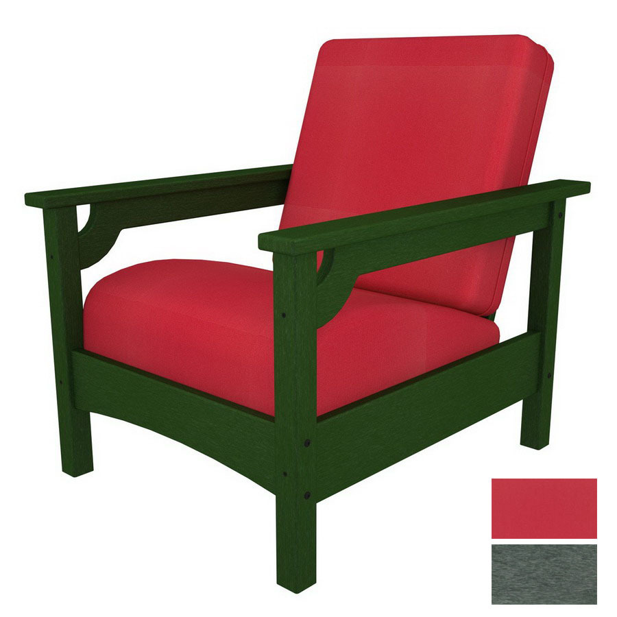 Shop Polywood Deep Seating Club Plastic Patio Chair With Solid Red Cushion At