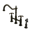 Elements of Design French Country Oil-Rubbed Bronze 2-Handle High-Arc Kitchen Faucet with Side Spray