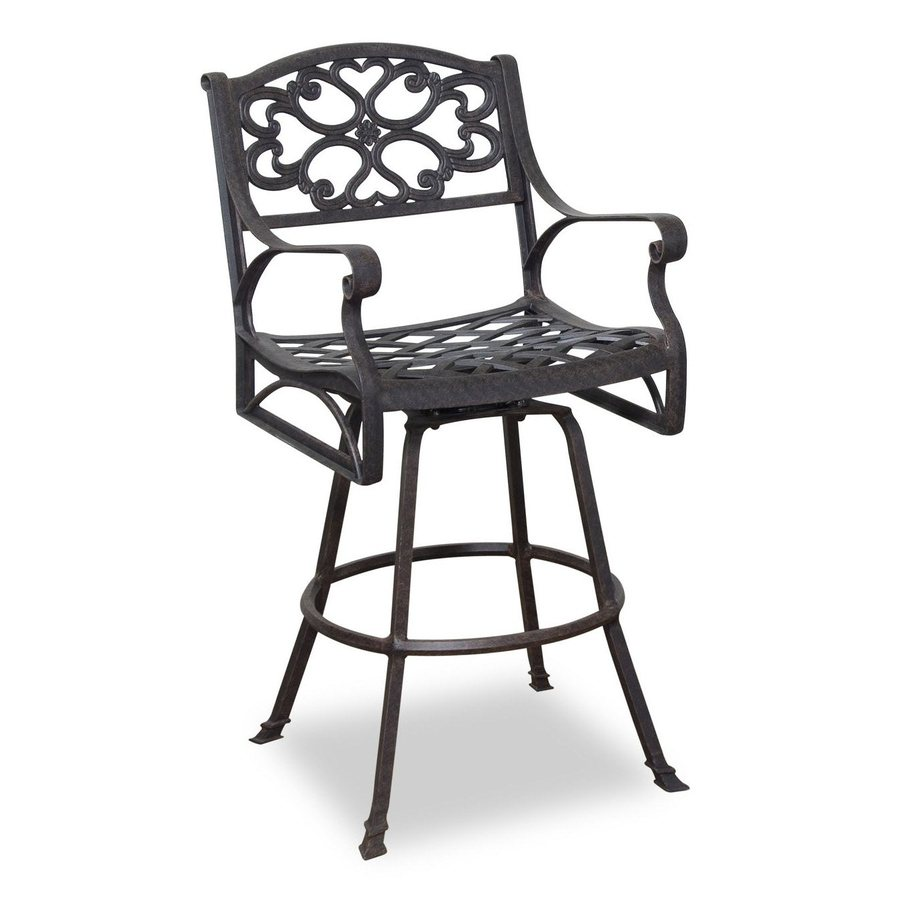Shop Home Styles Biscayne Swivel Mesh Aluminum Patio Bar Height Chair At Lowe