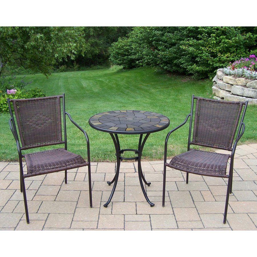 living 3 piece woven wrought iron patio bistro set at