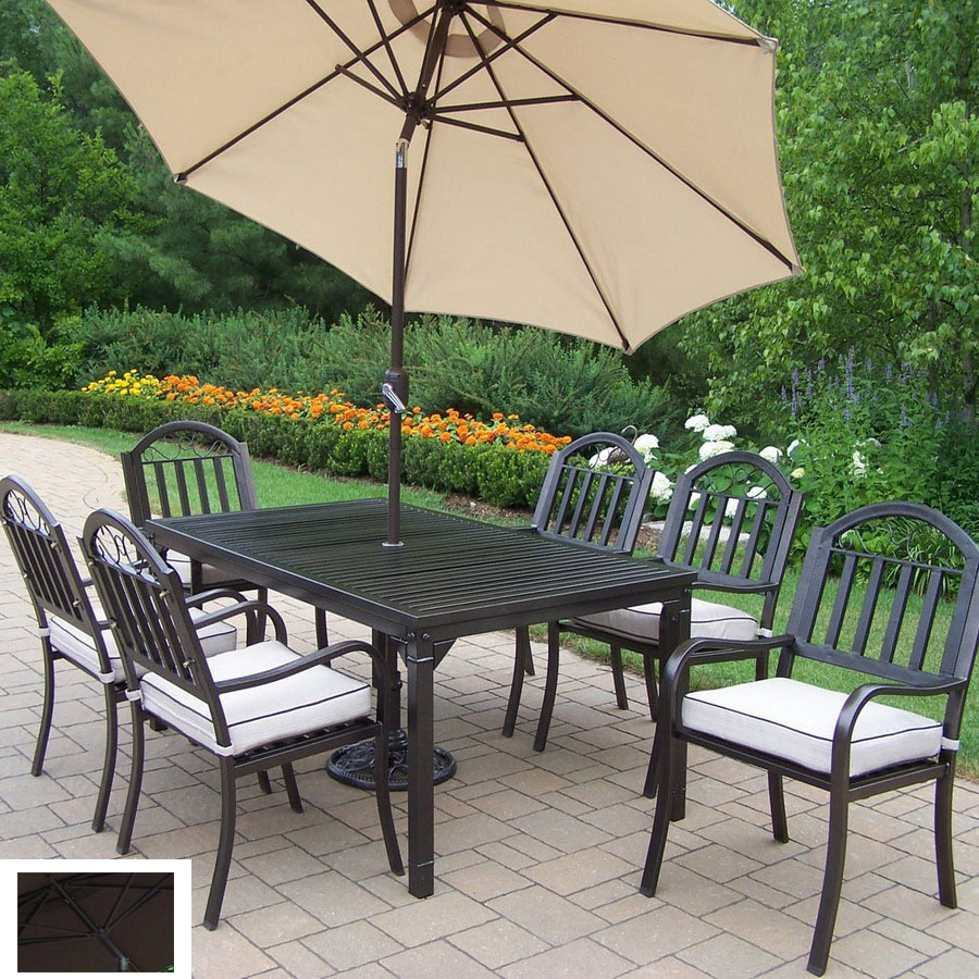 living 7 piece cushioned wrought iron patio dining set at