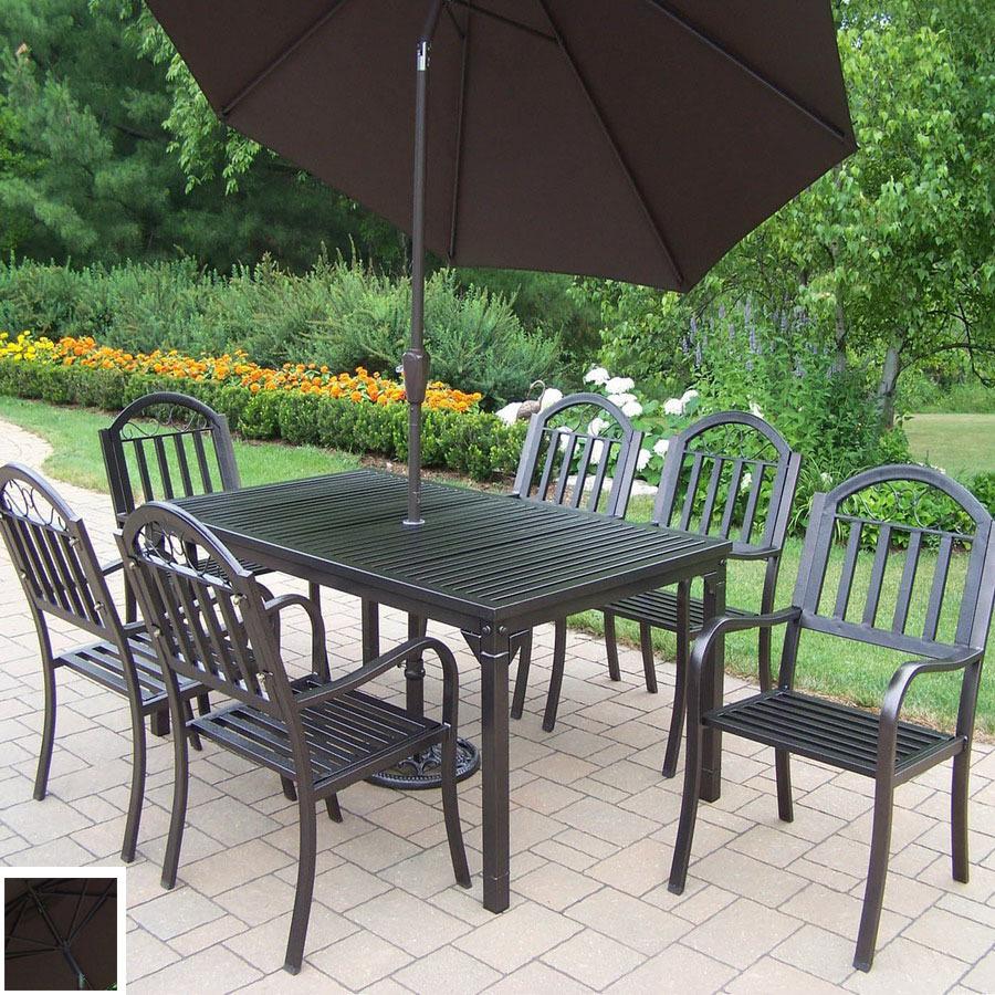 shop oakland living 7 slat wrought iron patio dining