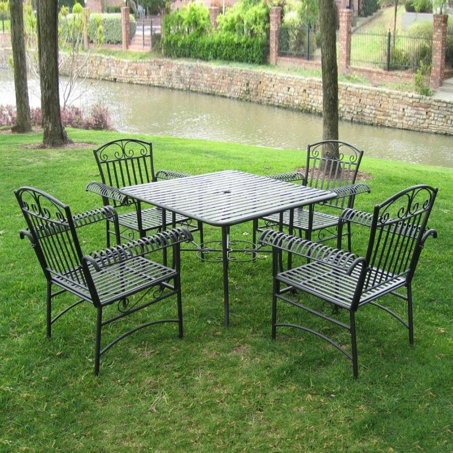 caravan 5 piece slat seat wrought iron patio dining set at