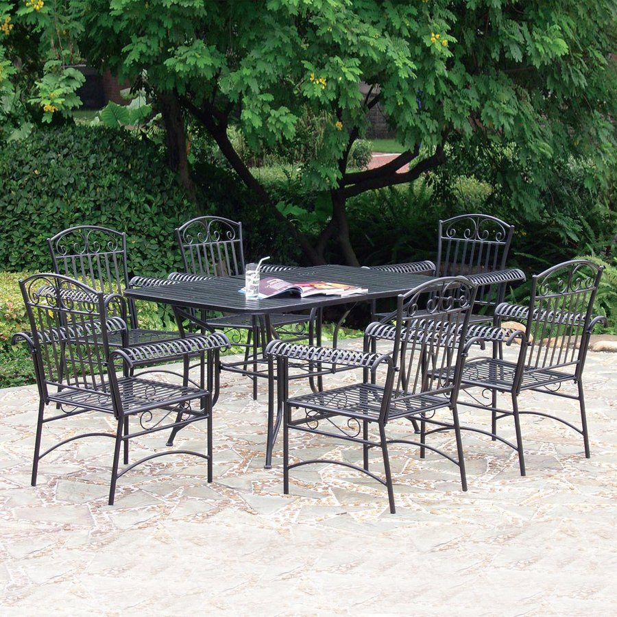 Shop International Caravan 7 Piece Slat Seat Wrought Iron Patio Dining Set At