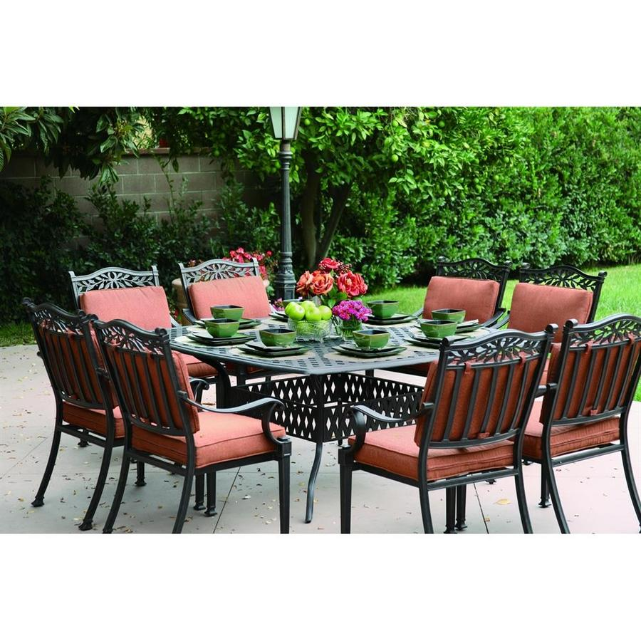 Shop Darlee 9 Piece Charleston Cushioned Cast Aluminum Patio Dining Set At