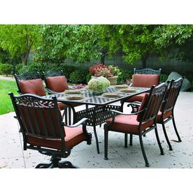 Shop darlee 7 piece charleston cushioned cast aluminum patio dining set at - Must have pieces for your patio furniture ...