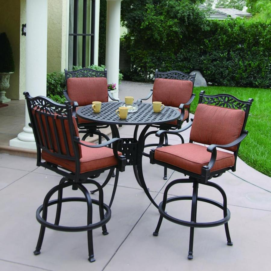 Shop darlee 5 piece charleston cushioned cast aluminum for Bar height patio furniture