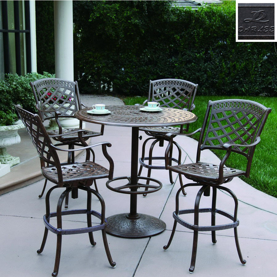 piece sedona cushioned cast aluminum patio bar height set at