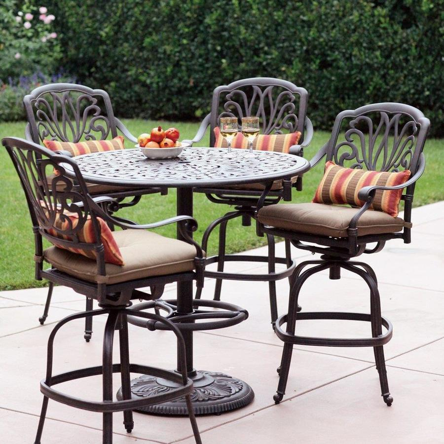 Shop Darlee 5 Piece Elisabeth Cushioned Cast Aluminum Patio Bar Height Set At