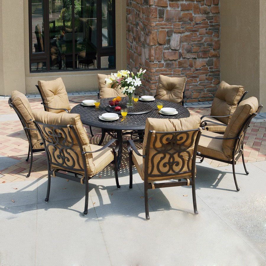 shop darlee 9 piece cushioned cast aluminum patio dining set at lowes