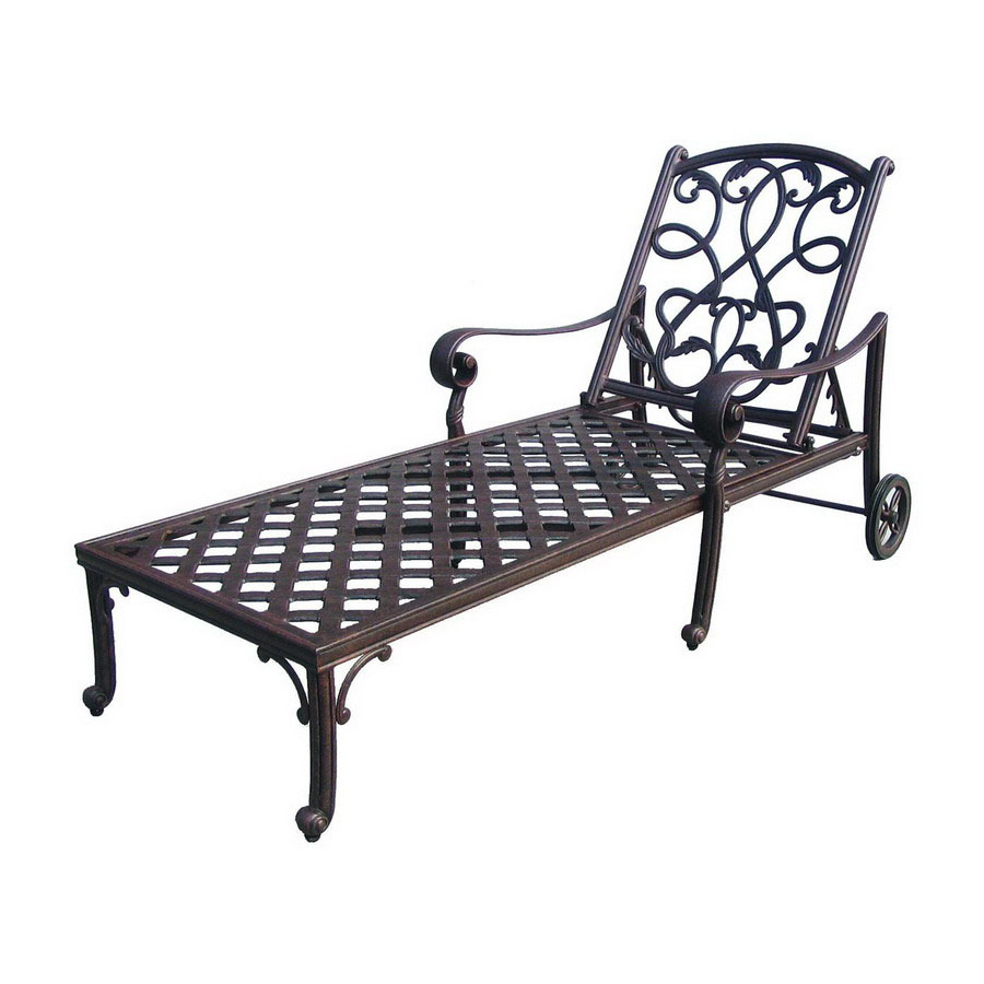 Shop darlee santa monica cast aluminum patio chaise lounge for Aluminum outdoor chaise lounge