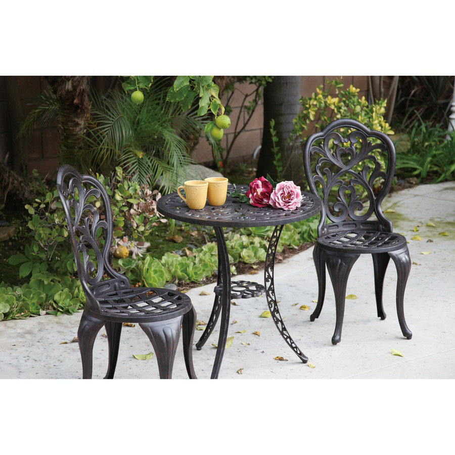 shop darlee 3 piece cast aluminum patio bistro set at