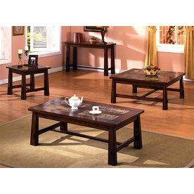 Furniture of America Living Stone Tobacco Oak Accent Table Set