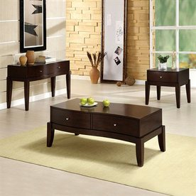 Furniture of America Le Mans Espresso Accent Table Set