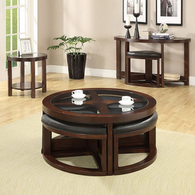 Furniture of America Crystal Cove Dark Walnut Accent Table Set