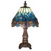 Meyda Tiffany Hanginghead Dragonfly 12-in Mahogany Bronze Tiffany-Style Indoor Table Lamp with Glass Shade