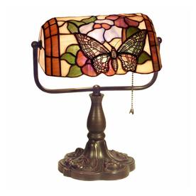 Warehouse of Tiffany Butterfly Banker 13-in Bronze Desk Lamp with Tiffany-Style Shade