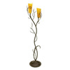 Creative Creations 70-in 2-Light Rustic Wrought Iron Floor Lamp with Amber Shade