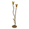 Creative Creations 66-in 2-Light Rustic Wrought Iron Floor Lamp with Amber Shade