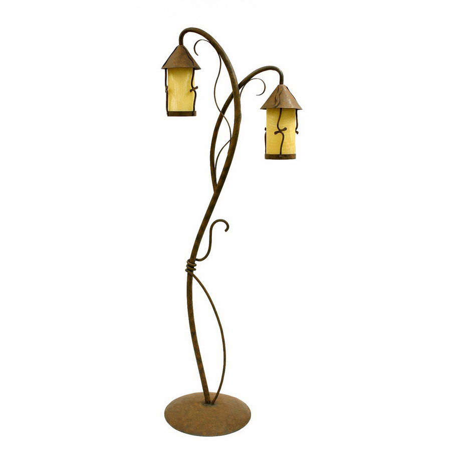 Shop creative creations 66 in rustic wrought iron multi head indoor floor lamp with shade at - Creative lamp shades ...