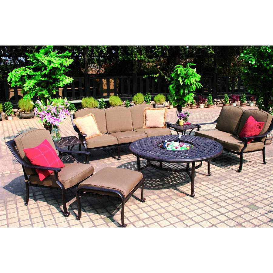 darlee 7 piece bronze aluminum patio conversation set at