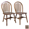 TMS Furniture Set of 2 Arrowback Oak Dining Chairs