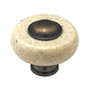 Cal Crystal Marble Antique Brass Round Cabinet Knob