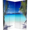 Oriental Furniture Ocean 4-Panel Multi Wood and Fabric Folding Indoor Privacy Screen