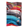 Oriental Furniture Colorful Cars 3-Panel Multi Wood and Fabric Folding Indoor Privacy Screen