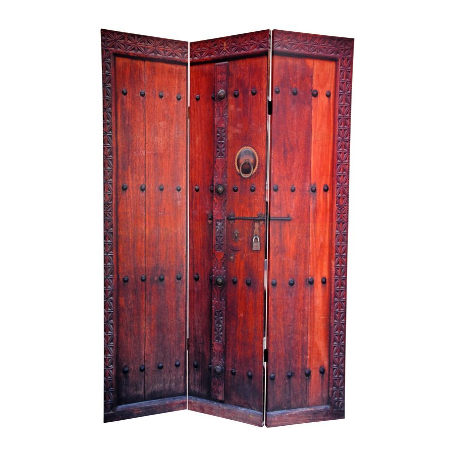 Shop oriental furniture doors 3 panel multi wood and fabric folding indoor privacy screen at - Collapsible room divider ...