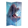 Oriental Furniture Dolphin and Clownfish 3-Panel Multi Wood and Fabric Folding Indoor Privacy Screen