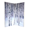 Oriental Furniture Birch Trees 4-Panel Multi Wood and Fabric Folding Indoor Privacy Screen