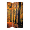 Oriental Furniture Autumn 3-Panel Orange Wood and Fabric Folding Indoor Privacy Screen