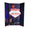 Oriental Furniture Vegas Poker 4-Panel Wood and Fabric Folding Indoor Privacy Screen