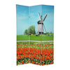 Oriental Furniture Windmills 3-Panel Multi Wood and Fabric Folding Indoor Privacy Screen
