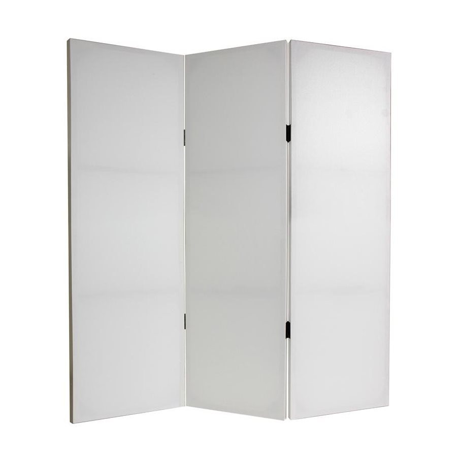 Shop Oriental Furniture Diy 3-Panel White Wood and Fabric Folding Indoor Privacy Screen at Lowes.com
