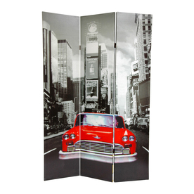 Shop Oriental Furniture New York City Taxi 3 Panel Multi Wood And Fabric Fold
