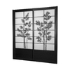 Oriental Furniture Bamboo Tree 2-Panel Black Wood and Paper Indoor Privacy Screen