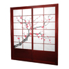 Oriental Furniture Cherry Blossom 2-Panel Rosewood Wood and Paper Indoor Privacy Screen