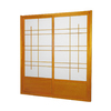 Oriental Furniture Eudes 2-Panel Honey Wood and Paper Indoor Privacy Screen
